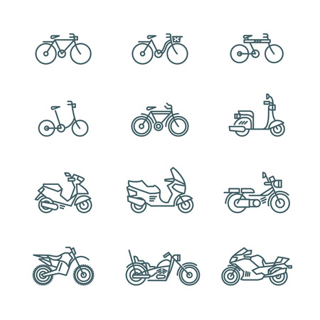 Motorbike, motorcycle, scooter, bike, bicycle thin line vector icons.