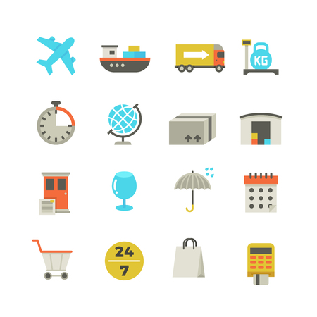 auto service: Import and export delivery logistics, aircraft shipping, loading vector flat icons. Global delivery service, illustration of collection color delivery icons