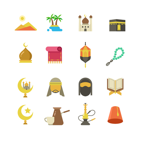 Arabic Muslim culture vector icons. Arabian Ramadan Kareem Eid Mubarak holiday design.