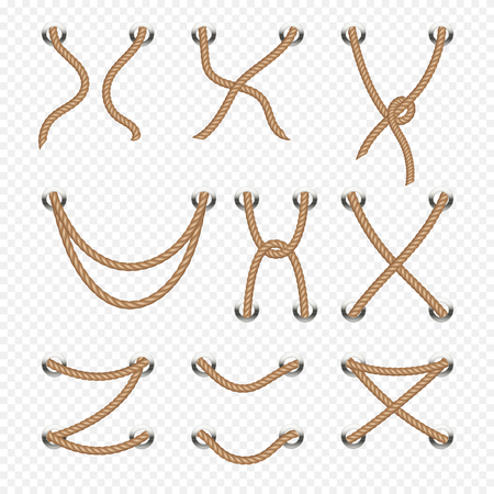 Rope and cable lacing vector nautical decoration. Line cord nautical, illustration of marine rope design