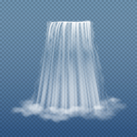 Clear water stream of waterfall isolated on transparent background vector illustration. 일러스트