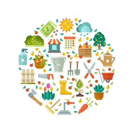 Tuinieren ontwerp met tuingereedschap, groentezaden en bloemen vector iconen. Tuinieren hulpmiddel illustratie, schop en bijl voor werk in de tuin Stock Illustratie