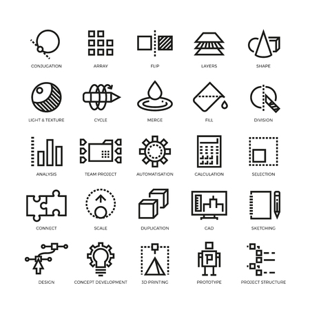 Cad designer, future innovation, database, architecture, 3d model printing vector line icons. Conjugation and array, flip and layer illustration