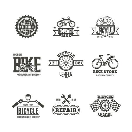 Bike shop, bicycle, biking vintage vector labels, logo, badges and emblems. Bike store and shop badge bicycle, part and repair illustration