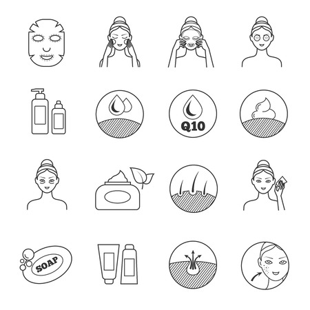 Skin care vector icons. Prevention of aging and eliminating of wrinkle pictograms. Cosmetic skin care, illustration of prevention of skin aging Illustration