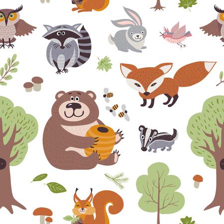Bosque de verano plantas y animales del bosque vector patrón transparente. Bosque animales telón de fondo, ilustración de animales en fondo mapache y liebre