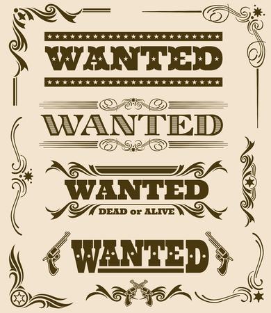 Vintage Wanted Dead Or Alive Western Poster Vector Frame Ornament ...