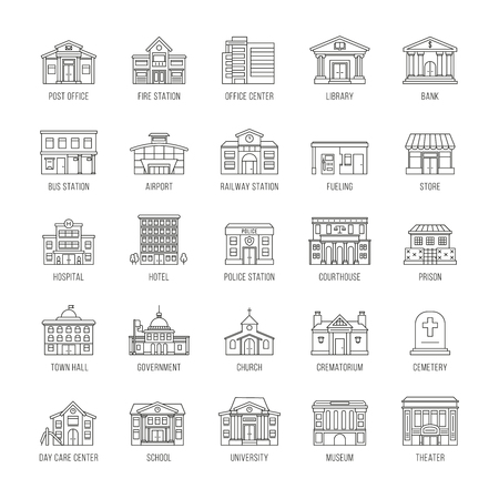 Government buildings vector thin line icons set. Building house police and courthouse, illustration of buildings prison and church Imagens