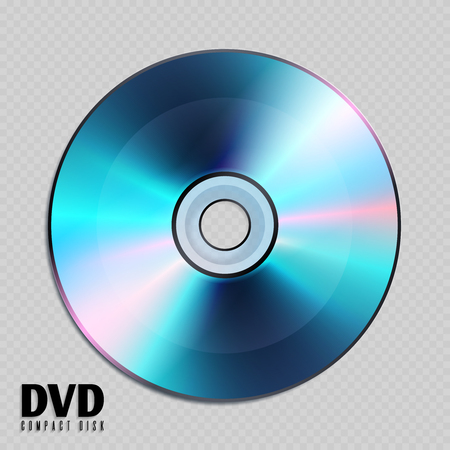 Realistic cd or dvd compact disk close up vector illustration. Disk with audio or video storage, compact disk with data information