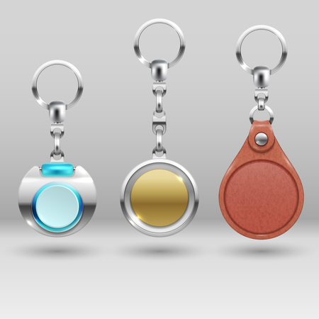 Realistic keychains. Vector car key holders set. Collection of trinkets, illustration of realistic souvenir trinket