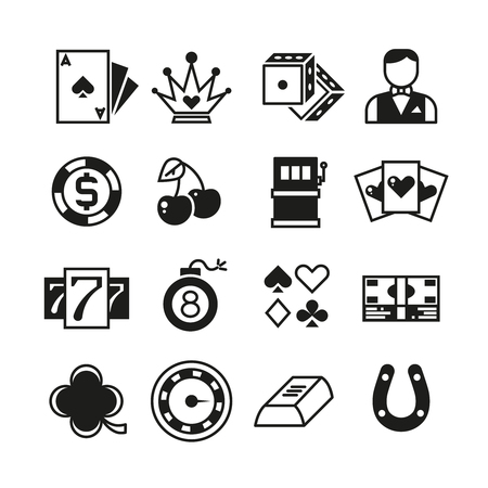 Lottery, roulette, casino, slot machine, gambling vector icons. Casino icons set, dice and blackjack, casino gambling collection game illustration