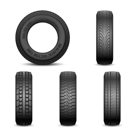 Realistische vectorbanden met verschillende loopvlaktekens Auto zwarte rubberband, illustratie van autoband voor wiel