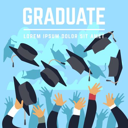 High school graduating students throw black graduation caps up in sky vector illustration. Student trow cap in air, celebration ceremony achievement education. Illustration