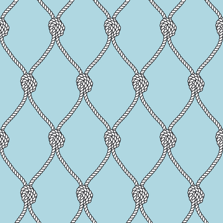 Marine rope fishnet with knots seamless vector background. Nautical repeating texture. Marine rope net, illustration of marine knotes node vintage. Illustration