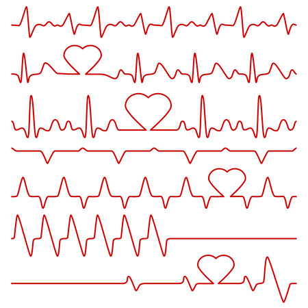 Cardiogram and pulse vector symbols with heart shape. Medical cardiogram, illustration of red line frequency cardiogram. Иллюстрация