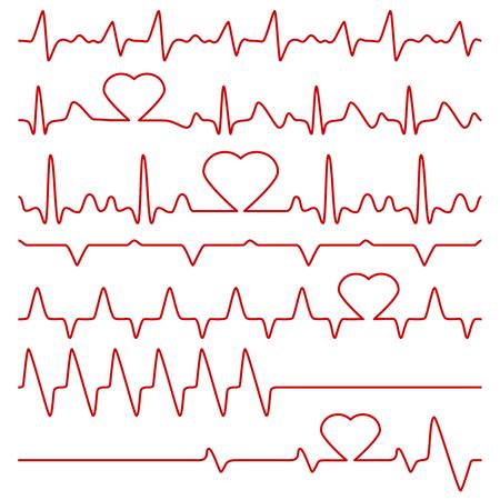 Cardiogram and pulse vector symbols with heart shape. Medical cardiogram, illustration of red line frequency cardiogram. Ilustração