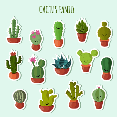 family gardening: Funny plants vector collection. Cute cactus with happy faces garden patches or stickers. Set of blossom cactus in pot, illuystration of family cactus. Illustration