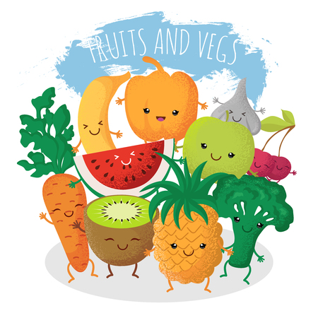Group of funny fruit and vegetables friends. Vector characters with happy smiling faces. Natural fruits pineapple and cherry, vegetarian natural food broccoli and fresh carrot illustration Illustration