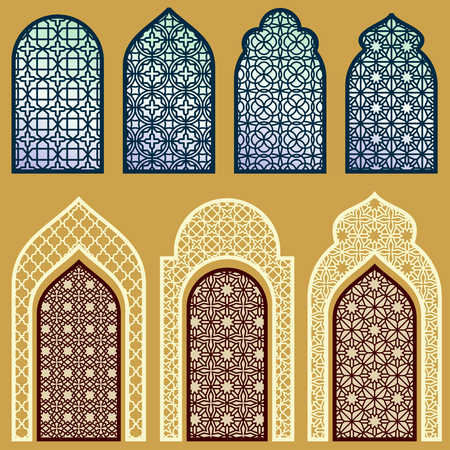 イスラムで窓やドア アラビアン アート飾りパターン ベクトルのセットを実行します。  イラスト・ベクター素材