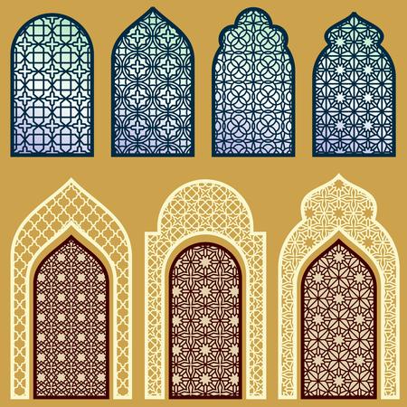 Ventanas islámica y puertas con motivo árabe del arte del vector del patrón . Foto de archivo - 77610420