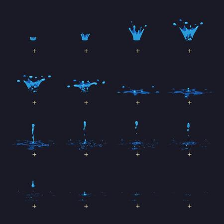 Cartoon vector water splash with drops fx animation frames sprite sheet.