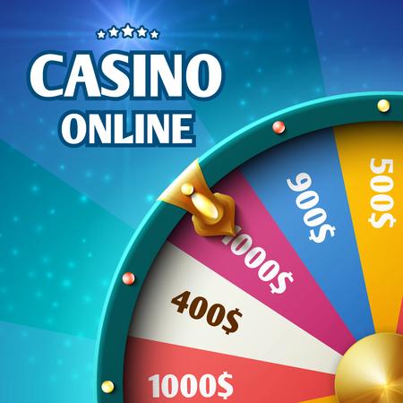 Casino wheel fortune, illustration of spin wheel lottery