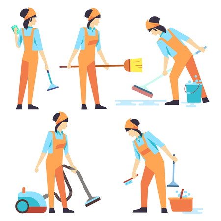 cleaning crew: Cleaning service woman staff - cleaning staff of woman flat design. Set of cleaner professional woman. Vector illustration Illustration