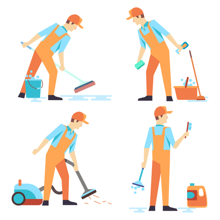 Flat men staff of cleaning service isolated on white. Group of cleaner occupation, vector illustration