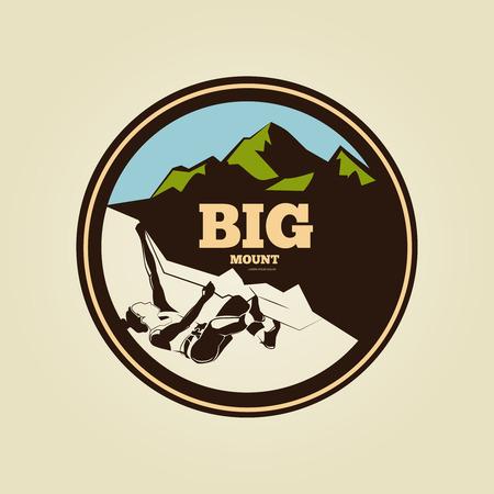 mountaineering: Vintage mountain climbing round logo - sport activity badge or banner. Label mountaineering isolated, vector illustration Illustration
