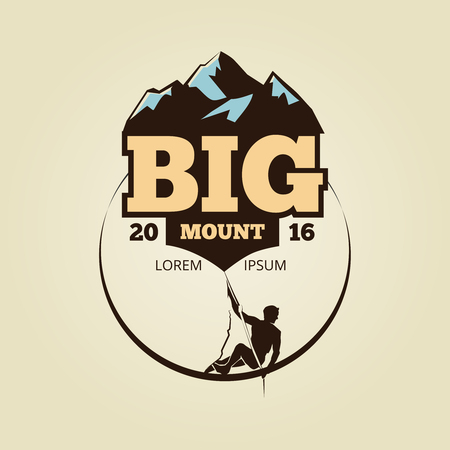 Vintage mountain climbling logo - sport activity badge. Adventure vintage badge, vector illustration