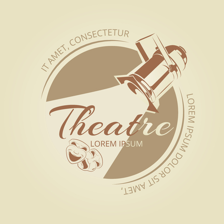 stage costume: Theatre banner design - art badge with soffit and theatre masks. Vector illustration Illustration
