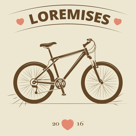 handgrip: Vintage bicycle logo or print design. Retro bike banner or poster. Vector illustration Illustration