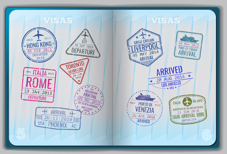 Open passport for foreign traveling. Pages with immigration vector icon set stamps. Personal passport with stamps arrived illustration Illustration