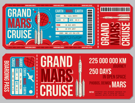 Space travel boarding pass vector template. Journey to Mars tickets. Mock up colored ticket for passenger to travel mars, illustration