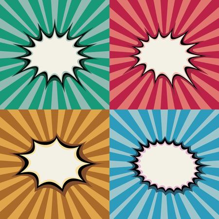 Blank pop art speech bubbles and burst shapes on retro superhero sunset background vector set. Backdrop bang burst, illustration of page with radial burst Stok Fotoğraf