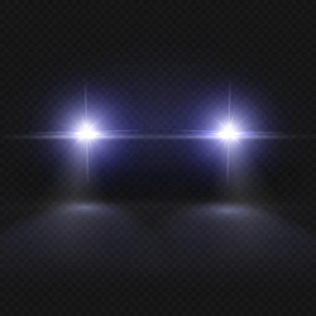 Car headlights. Headlamp glowing vector effect isolated on transpatent plaid background. Headlight in dark night, illustration of vehicle headlight front