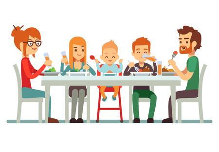 Feliz familia grande comiendo juntos ilustración vectorial. Familia juntos comedor, madre padre con los niños Ilustración de vector