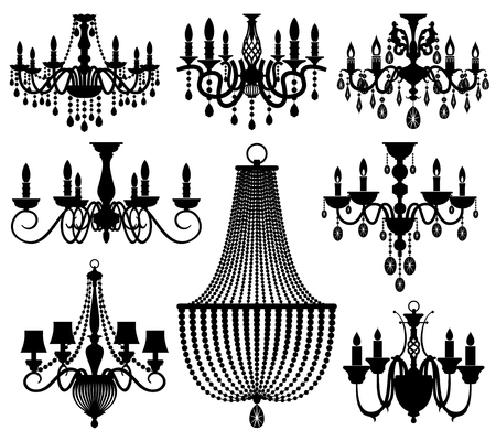 Vintage crystal chandeliers vector silhouettes isolated on white. Black silhouette chandelier with candle illustration Vettoriali