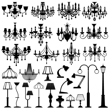 Home and outdoor lightning, lamps and chandeliers vector set. Black silhouette lamp chandelier and table lamp illustration