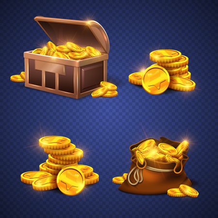 money sack: Wooden chest and big old bag with gold coins, money stack isolated. Video game vector rich assets illustration