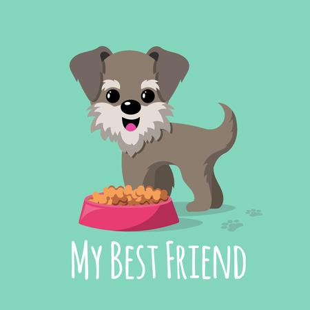Cartoon Hunde Vektor Hintergrund. Cartoon Hund Charakter, glücklich Welpen Illustration Standard-Bild - 78411618