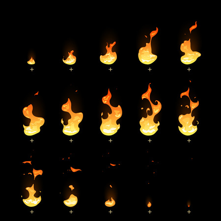 Ignition and fading fire trap animation sprite sheet cartoon vector set. Motion burning bonfire, illustration of move igniting fire