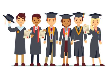 벡터 학생, 대학 졸업와 졸업 개념입니다. 학생 졸업 대학 또는 학교, 사람들의 그림 졸업 일러스트