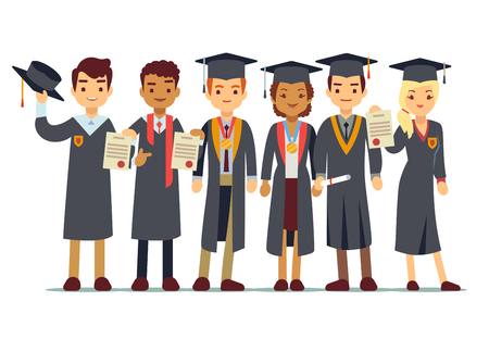 Vector graduation concept with students, college graduate. Students graduation university or school, illustration of people graduate Illustration
