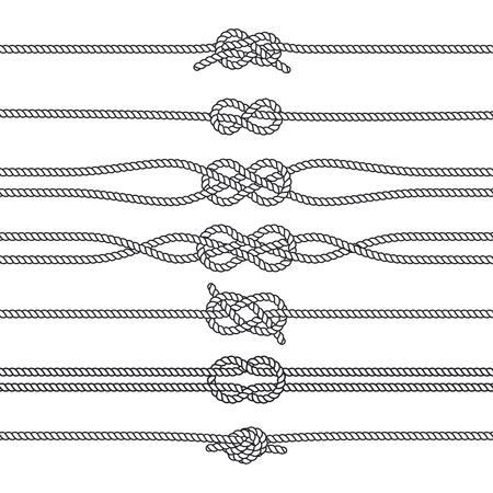 Nudos de navegación con bordes horizontales o desviadores. Vector de decoraciones marinas. Nudos náuticos, ilustración de cuerda trenzada. Ilustración de vector