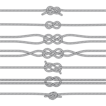 Sailing knots horizontal borders or deviders. Vector marine decorations. Nautical knots, illustration of rope twisted knot Banco de Imagens - 78660531