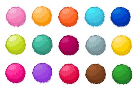 Colorful fluffy pompom fur balls isolated vector set. Pompom ball fluffy, illustration of colored soft pompom