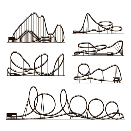 Rollercoaster vector vector black silhouettes isolated on white. Amusement park icons. Rollercoaster for amusement park, illustration of roller-coaster Illustration