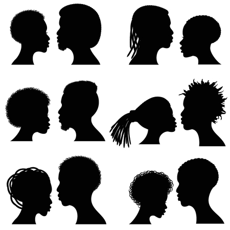 African female and male face vector silhouettes. Afro american couple portraits for wedding and romantic design. Couple african profile man and woman, illustration of black silhouette couple