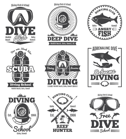 deep sea diver: Underwater scuba diving club vector vintage emblems and labels. Sport freediving label, illustration of diving scuba club